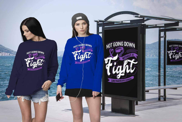 Not Going Down Without A Fight Cure Pancreatic Cancer Awareness Gift Sweater-T-shirt-JoyHip.Com