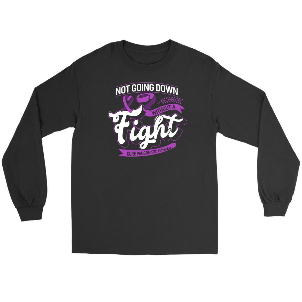Not Going Down Without A Fight Cure Pancreatic Cancer Awareness Idea Long Sleeve-T-shirt-Gildan Long Sleeve Tee-Black-JoyHip.Com