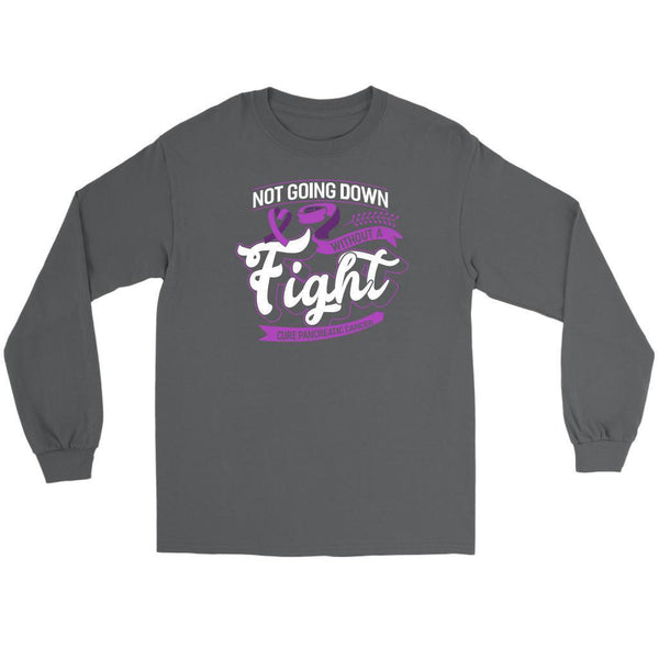 Not Going Down Without A Fight Cure Pancreatic Cancer Awareness Idea Long Sleeve-T-shirt-Gildan Long Sleeve Tee-Grey-JoyHip.Com