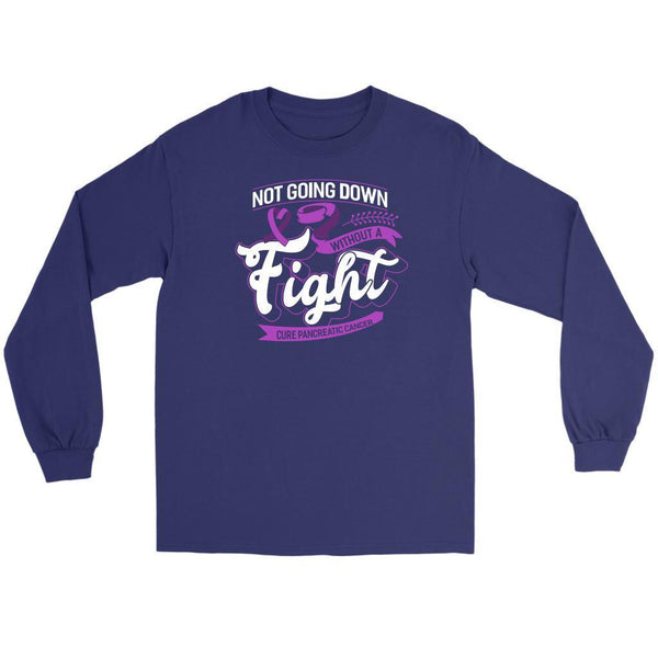 Not Going Down Without A Fight Cure Pancreatic Cancer Awareness Idea Long Sleeve-T-shirt-Gildan Long Sleeve Tee-Purple-JoyHip.Com