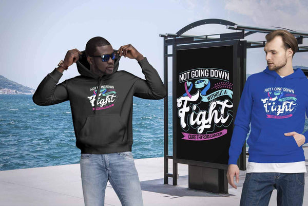 Not Going Down Without A Fight Cure Thyroid Cancer Awareness Gift Ideas Hoodie-T-shirt-JoyHip.Com