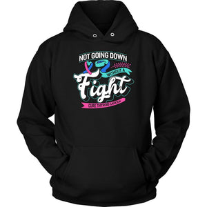 Not Going Down Without A Fight Cure Thyroid Cancer Awareness Gift Ideas Hoodie-T-shirt-Unisex Hoodie-Black-JoyHip.Com