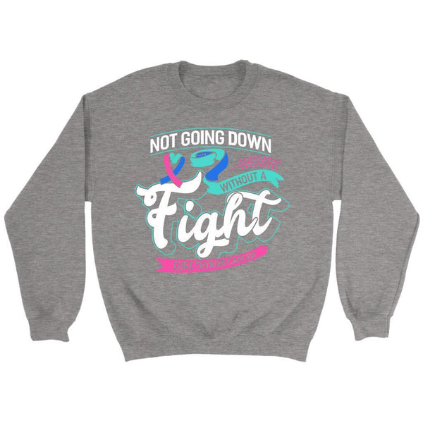 Not Going Down Without A Fight Cure Thyroid Cancer Awareness Gift Ideas Sweater-T-shirt-Crewneck Sweatshirt-Grey-JoyHip.Com