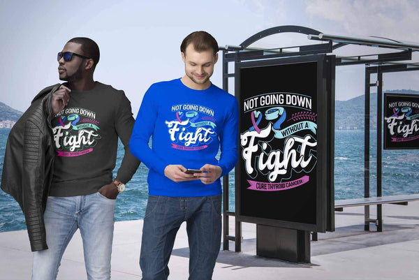 Not Going Down Without A Fight Cure Thyroid Cancer Awareness Gift Ideas Sweater-T-shirt-JoyHip.Com