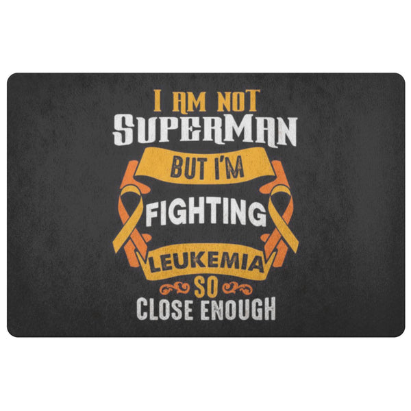Not Superman But Fighting Leukemia Cancer 18X26 Thin Indoor Door Mat Entry Rug-Doormat-Black-JoyHip.Com