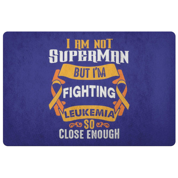 Not Superman But Fighting Leukemia Cancer 18X26 Thin Indoor Door Mat Entry Rug-Doormat-Navy-JoyHip.Com