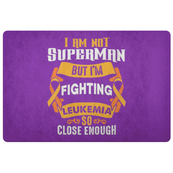 Not Superman But Fighting Leukemia Cancer 18X26 Thin Indoor Door Mat Entry Rug-Doormat-Purple-JoyHip.Com