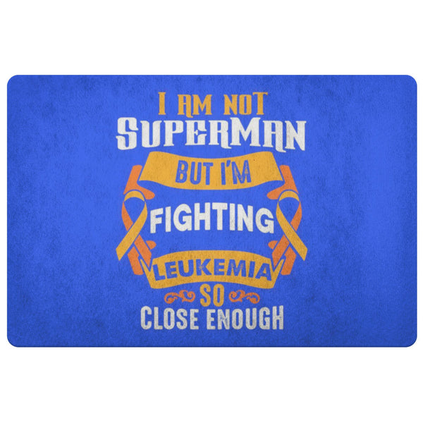 Not Superman But Fighting Leukemia Cancer 18X26 Thin Indoor Door Mat Entry Rug-Doormat-Royal Blue-JoyHip.Com