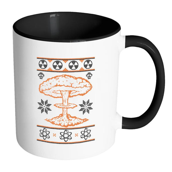 Nuclear Physics Engineering Bomb Explosion Kim Jong Boom Festive Funny Ugly Christmas Holiday Sweater 11oz Accent Coffee Mug (7 Colors)-Drinkware-Accent Mug - Black-JoyHip.Com