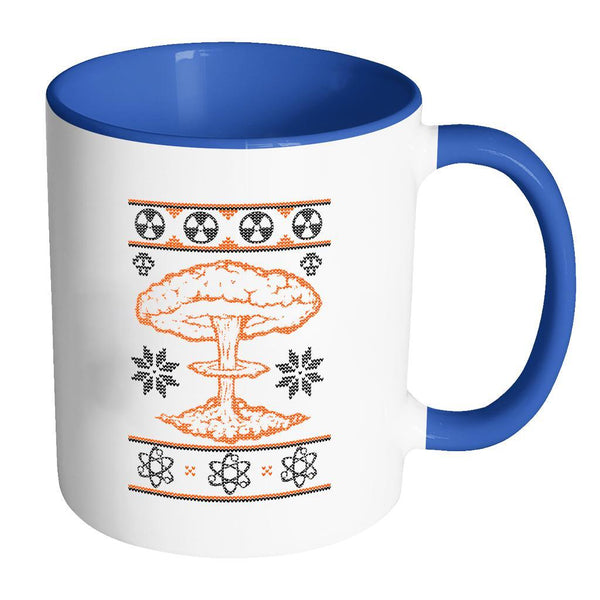 Nuclear Physics Engineering Bomb Explosion Kim Jong Boom Festive Funny Ugly Christmas Holiday Sweater 11oz Accent Coffee Mug (7 Colors)-Drinkware-Accent Mug - Blue-JoyHip.Com