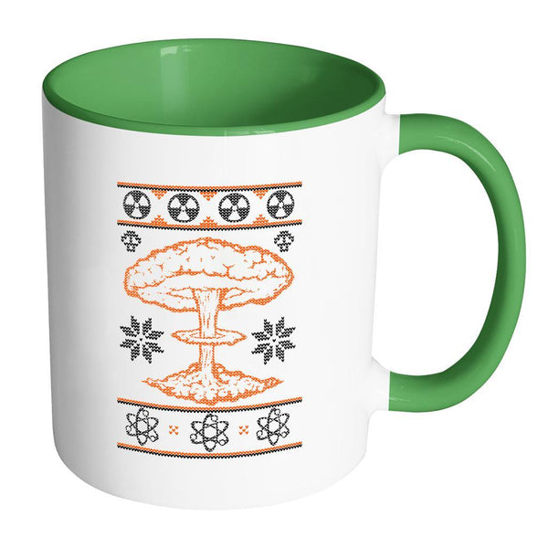 Nuclear Physics Engineering Bomb Explosion Kim Jong Boom Festive Funny Ugly Christmas Holiday Sweater 11oz Accent Coffee Mug (7 Colors)-Drinkware-Accent Mug - Green-JoyHip.Com