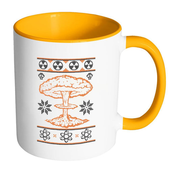 Nuclear Physics Engineering Bomb Explosion Kim Jong Boom Festive Funny Ugly Christmas Holiday Sweater 11oz Accent Coffee Mug (7 Colors)-Drinkware-Accent Mug - Orange-JoyHip.Com