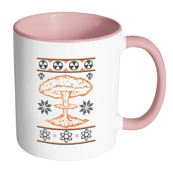 Nuclear Physics Engineering Bomb Explosion Kim Jong Boom Festive Funny Ugly Christmas Holiday Sweater 11oz Accent Coffee Mug (7 Colors)-Drinkware-Accent Mug - Pink-JoyHip.Com