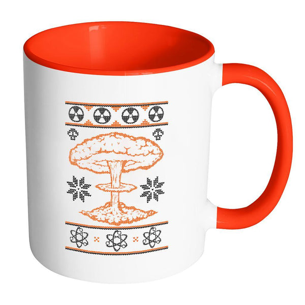 Nuclear Physics Engineering Bomb Explosion Kim Jong Boom Festive Funny Ugly Christmas Holiday Sweater 11oz Accent Coffee Mug (7 Colors)-Drinkware-Accent Mug - Red-JoyHip.Com