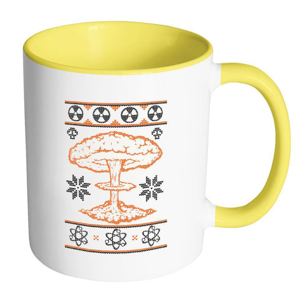 Nuclear Physics Engineering Bomb Explosion Kim Jong Boom Festive Funny Ugly Christmas Holiday Sweater 11oz Accent Coffee Mug (7 Colors)-Drinkware-Accent Mug - Yellow-JoyHip.Com