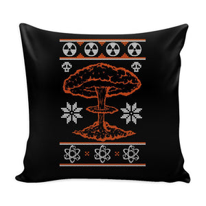 Nuclear Physics Engineering Bomb Explosion Kim Jong Boom Festive Funny Ugly Christmas Holiday Sweater Decorative Throw Pillow Cases Cover(4 Colors)-Pillows-Black-JoyHip.Com