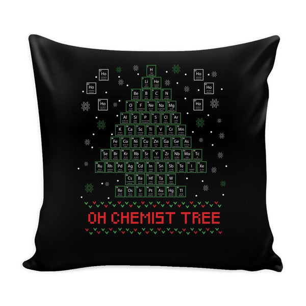 Oh Chemist Tree Organic Chemistry Periodic Table Funny Festive Ugly Christmas Holiday Sweater Decorative Throw Pillow Cases Cover(4 Colors)-Pillows-Black-JoyHip.Com