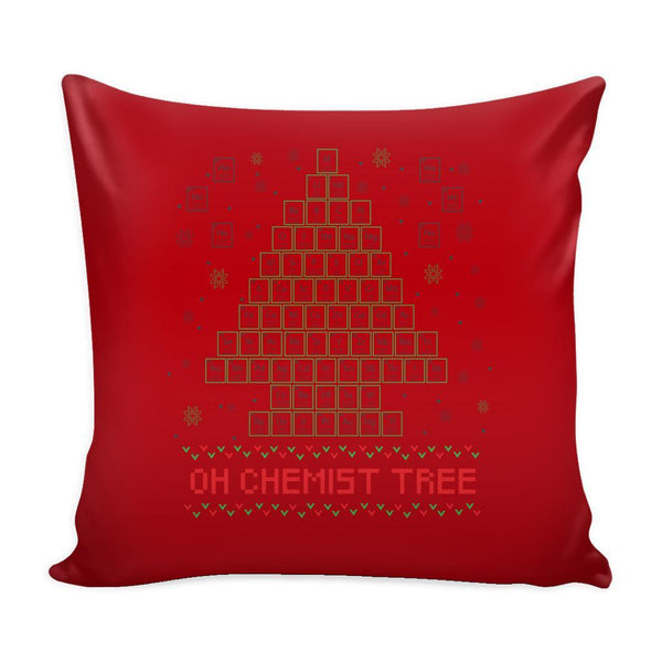 Oh Chemist Tree Organic Chemistry Periodic Table Funny Festive Ugly Christmas Holiday Sweater Decorative Throw Pillow Cases Cover(4 Colors)-Pillows-Red-JoyHip.Com