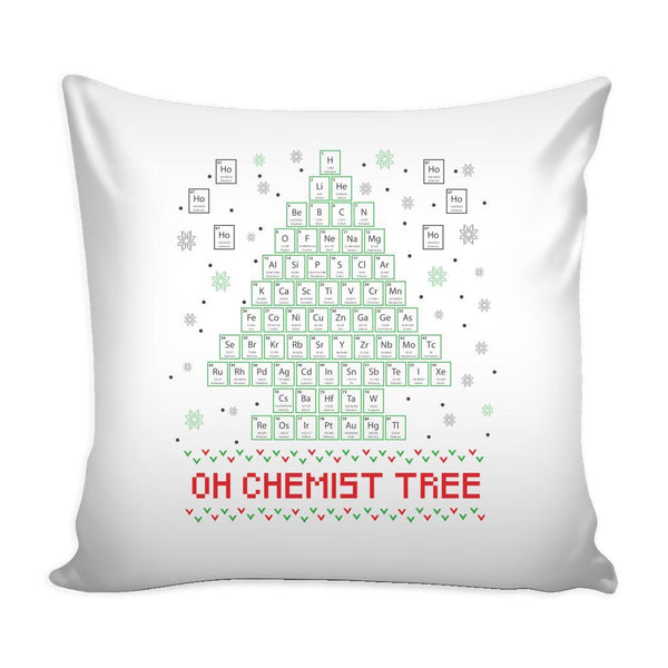 Oh Chemist Tree Organic Chemistry Periodic Table Funny Festive Ugly Christmas Holiday Sweater Decorative Throw Pillow Cases Cover(4 Colors)-Pillows-White-JoyHip.Com