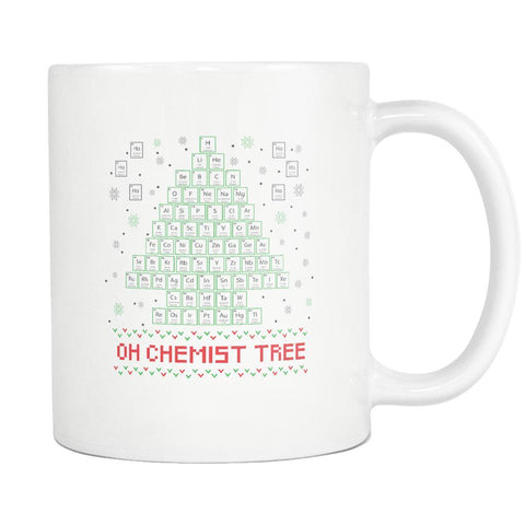 Oh Chemist Tree Organic Chemistry Periodic Table Funny Ugly Christmas Holiday Sweater White 11oz Coffee Mug-Drinkware-Ugly Christmas Sweater White 11oz Coffee Mug-JoyHip.Com