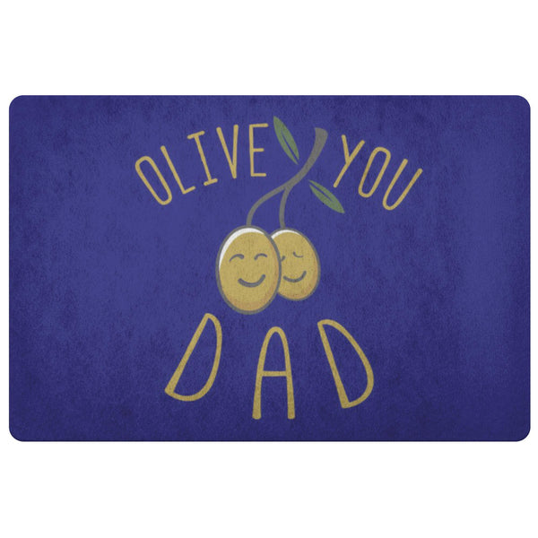 Olive You Dad 18X26 Front Door Mat Funny New Dad Gifts Ideas For Men Fathers Day-Doormat-Navy-JoyHip.Com