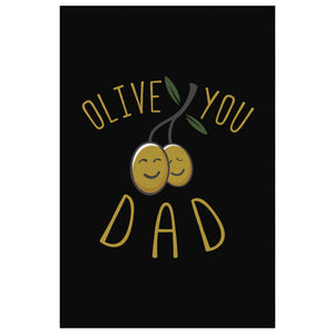 Olive You Dad Funny Gifts For Men Canvas Wall Art Home Room Decor Fathers Day-Canvas Wall Art 2-8 x 12-JoyHip.Com