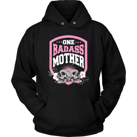 One Badass Mother Awesome Cool Humor Funny Unique Mom Gift Idea Hoodie-T-shirt-Unisex Hoodie-Black-JoyHip.Com