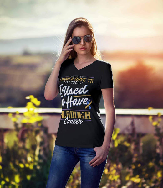 One Day I Would Have To Say That I Used To Have Bladder Cancer Gift VNeck TShirt-T-shirt-JoyHip.Com