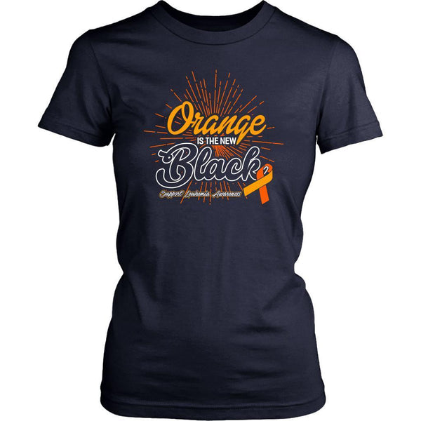 Orange Is The New Black Support Leukemia Awareness Hip Women T-Shirt-T-shirt-District Womens Shirt-Navy-JoyHip.Com