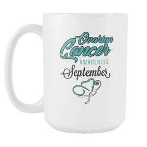 Ovarian Cancer Awareness Month September Gifts White 15oz Coffee Mug-Drinkware-Ovarian Cancer Awareness White 15oz Coffee Mug-JoyHip.Com