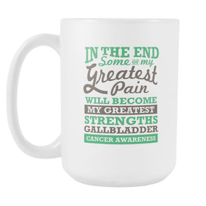 Pain Will Become Greatest Strengths Gallbladder Bile Duct Cancer Awareness Green Ribbon White 15oz Coffee Mug-Drinkware-Gallbladder Bile Duct Cancer Awareness White 15oz Coffee Mug-JoyHip.Com