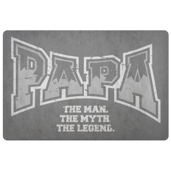 Papa The Man The Myth The Legend 18X26 Front Door Mat Funny New Dad Gifts Ideas-Doormat-Grey-JoyHip.Com
