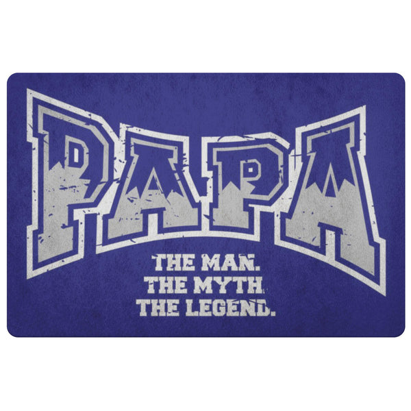 Papa The Man The Myth The Legend 18X26 Front Door Mat Funny New Dad Gifts Ideas-Doormat-Navy-JoyHip.Com