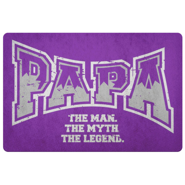 Papa The Man The Myth The Legend 18X26 Front Door Mat Funny New Dad Gifts Ideas-Doormat-Purple-JoyHip.Com