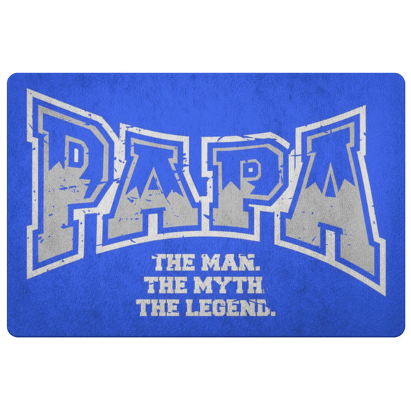 Papa The Man The Myth The Legend 18X26 Front Door Mat Funny New Dad Gifts Ideas-Doormat-Royal Blue-JoyHip.Com
