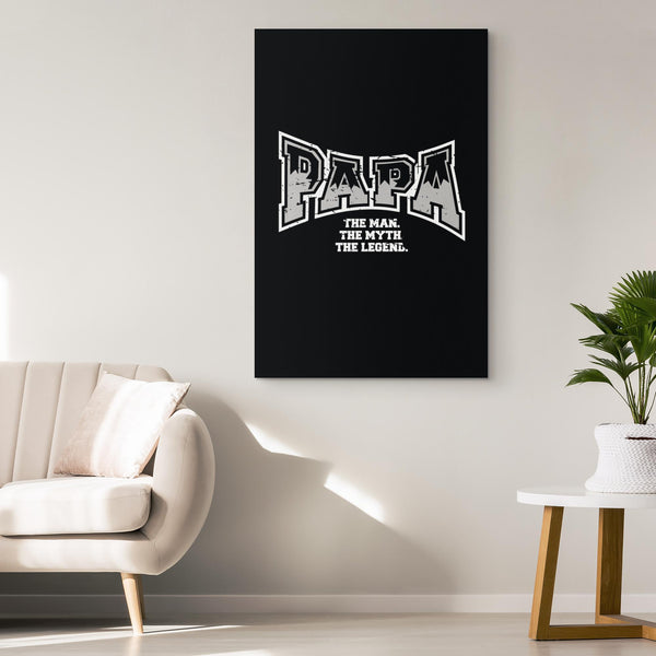 Papa The Man The Myth The Legend Funny Gifts For Men Canvas Wall Art Room Decor-Canvas Wall Art 2-JoyHip.Com