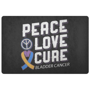 Peace Love Cure Bladder Cancer Awareness 18X26 Thin Indoor Door Mat Entryway Rug-Doormat-Black-JoyHip.Com
