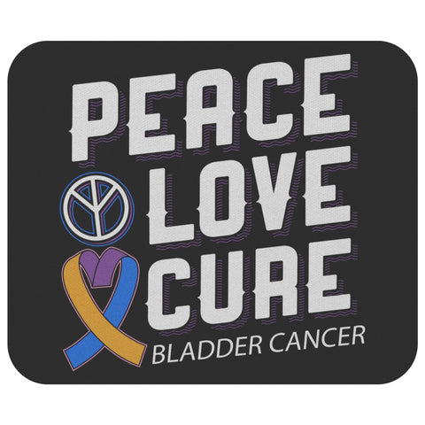 Peace Love Cure Bladder Cancer Awareness Comfort Gift For Chemo Patient Mouse Pad-Mousepads-Black-JoyHip.Com