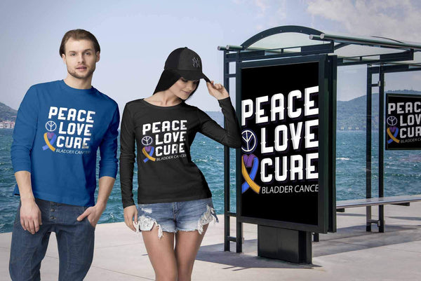 Peace Love Cure Bladder Cancer Awareness Teal Pink Blue Ribbon Gift Long Sleeve-T-shirt-JoyHip.Com