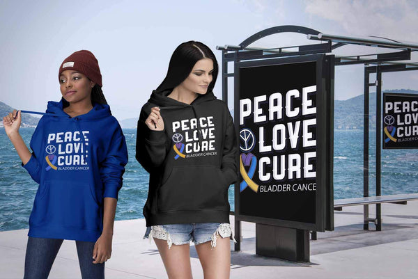 Peace Love Cure Bladder Cancer Awareness Yellow Blue & Purple Ribbon Gift Hoodie-T-shirt-JoyHip.Com