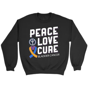 Peace Love Cure Bladder Cancer Awareness Yellow Blue Purple Ribbon Gift Sweater-T-shirt-Crewneck Sweatshirt-Black-JoyHip.Com