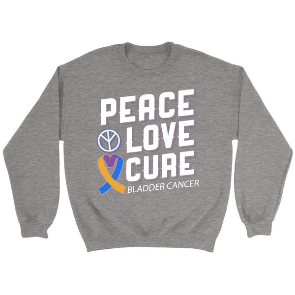 Peace Love Cure Bladder Cancer Awareness Yellow Blue Purple Ribbon Gift Sweater-T-shirt-Crewneck Sweatshirt-Grey-JoyHip.Com