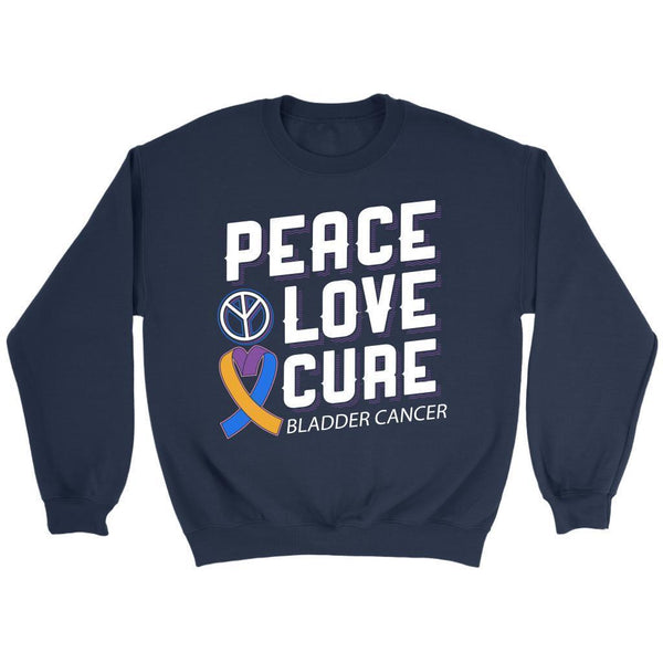 Peace Love Cure Bladder Cancer Awareness Yellow Blue Purple Ribbon Gift Sweater-T-shirt-Crewneck Sweatshirt-Navy-JoyHip.Com