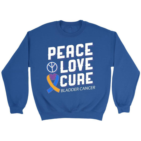Peace Love Cure Bladder Cancer Awareness Yellow Blue Purple Ribbon Gift Sweater-T-shirt-Crewneck Sweatshirt-Royal Blue-JoyHip.Com