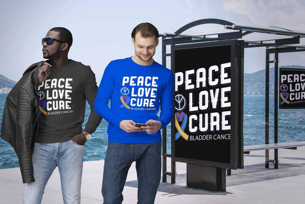 Peace Love Cure Bladder Cancer Awareness Yellow Blue Purple Ribbon Gift Sweater-T-shirt-JoyHip.Com
