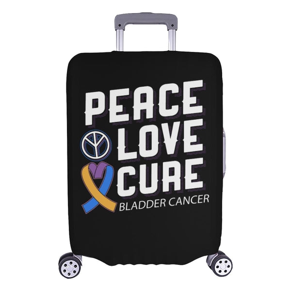 "Peace Love Cure Bladder Cancer Travel Luggage Cover Suitcase Protector 18""-28""-L-Black-JoyHip.Com"