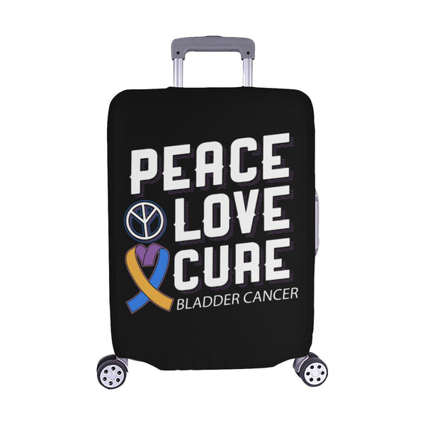 "Peace Love Cure Bladder Cancer Travel Luggage Cover Suitcase Protector 18""-28""-M-Black-JoyHip.Com"