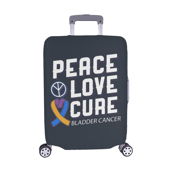 "Peace Love Cure Bladder Cancer Travel Luggage Cover Suitcase Protector 18""-28""-M-Grey-JoyHip.Com"