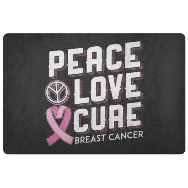 Peace Love Cure Breast Cancer Awareness 18X26 Thin Indoor Door Mat Entryway Rug-Doormat-Black-JoyHip.Com