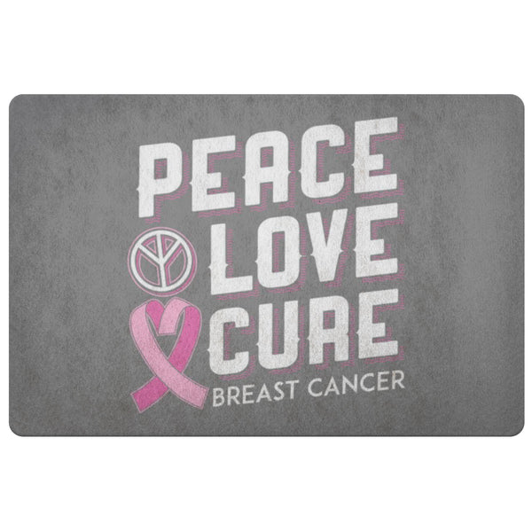 Peace Love Cure Breast Cancer Awareness 18X26 Thin Indoor Door Mat Entryway Rug-Doormat-Grey-JoyHip.Com